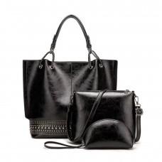 На фото 1 - Набор сумок из искусственной кожи, цвет чёрный