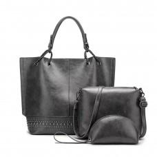 На фото 1 - Набор сумок из искусственной кожи, цвет серый