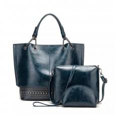 На фото 1 - Набор сумок из искусственной кожи, цвет синий