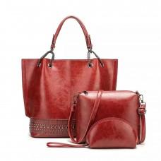 На фото 1 - Набор сумок из искусственной кожи, цвет красный