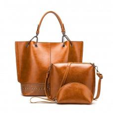 На фото 1 - Набор сумок из искусственной кожи, цвет рыжий