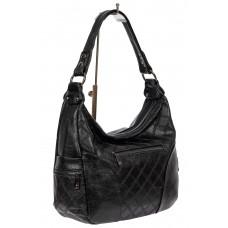 На фото 1 - Женская стёганая сумка хобо из искусственной кожи, цвет чёрный