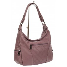 На фото 1 - Женская стёганая сумка хобо из искусственной кожи, цвет сиреневый