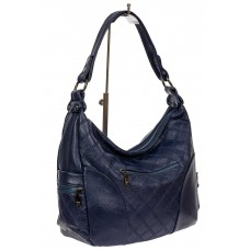 На фото 1 - Женская стёганая сумка хобо из искусственной кожи, цвет тёмно-синий