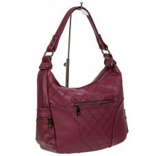 На фото 1 - Женская стёганая сумка хобо из искусственной кожи, цвет бордовый