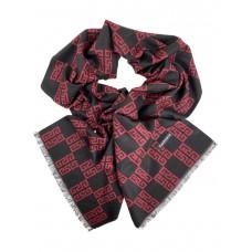 На фото 1 - Шарф мужской из кашемира с геометрическим орнаментом, цвет чёрный с красным