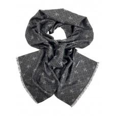 На фото 1 - Шарф мужской из кашемира с геометрическим орнаментом, оттенки серого