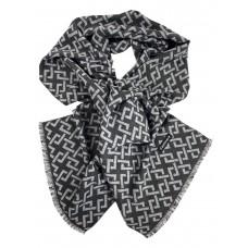 На фото 1 - Шарф мужской из кашемира с геометрическим орнаментом серого цвета