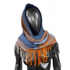 На фото 1 - Тёплая косынка из кашемира и шерсти, синие и оранжевые оттенки