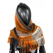 На фото 1 - Тёплая косынка из кашемира и шерсти, оранжевые и коричневые оттенки
