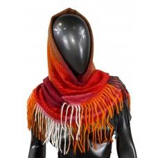 На фото 1 - Тёплая косынка из кашемира и шерсти, бордовые и оранжевые оттенки