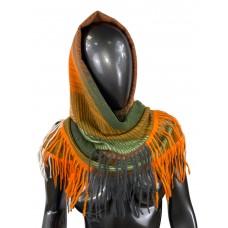 На фото 1 - Тёплая косынка из кашемира и шерсти, цвет хаки с оранжевым