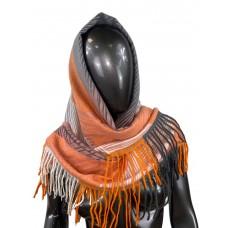 На фото 1 - Тёплая косынка из кашемира и шерсти, оранжевые и коричнево-розовые оттенки