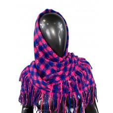 На фото 1 - Тёплый платок-палантин из кашемира и шерсти в клетку, синий с малиновым