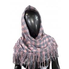 На фото 1 - Тёплый платок-палантин из кашемира и шерсти в клетку, серый с розовым