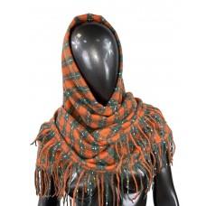 На фото 1 - Тёплый платок-палантин из кашемира и шерсти в клетку, оранжевый с серым