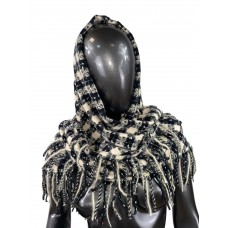 На фото 1 - Тёплый платок-палантин из кашемира и шерсти в клетку, чёрно-белый
