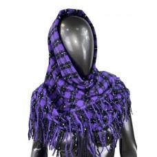 На фото 1 - Тёплый платок-палантин из кашемира и шерсти в клетку, сиреневый с чёрным