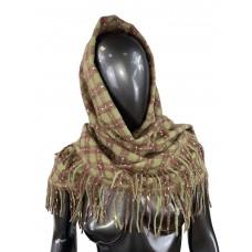 На фото 1 - Тёплый платок-палантин из кашемира и шерсти в клетку, хаки с коричневым