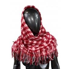 На фото 1 - Тёплый платок-палантин из кашемира и шерсти в клетку, красный с белым
