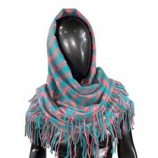 На фото 1 - Тёплый платок-палантин из кашемира и шерсти в клетку, бирюзовый с розовым