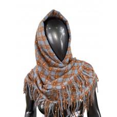 На фото 1 - Тёплый платок-палантин из кашемира и шерсти в клетку, голубой с рыжим