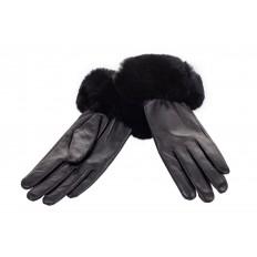 На фото 2 - Кожаные перчатки с манжетой из меха