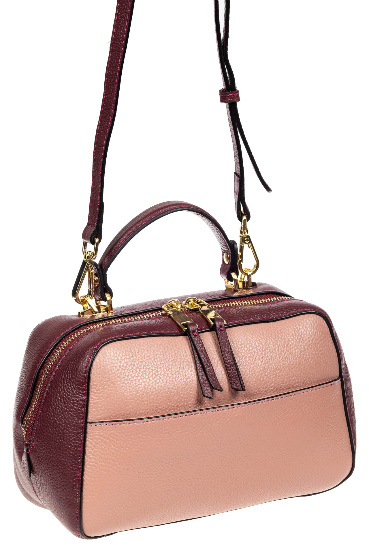На фото 1 - Мягкая кожаная женская сумка на каждый день, цвет фиолетовый с розовым