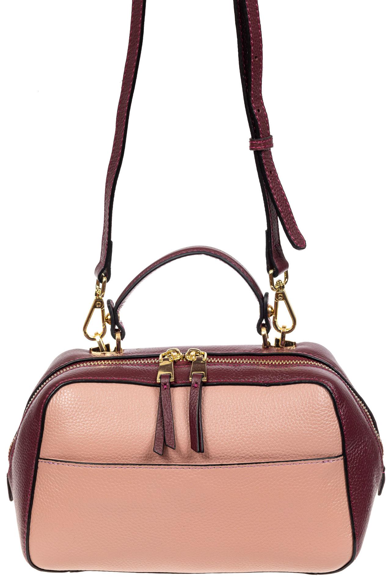 На фото 2 - Мягкая кожаная женская сумка на каждый день, цвет фиолетовый с розовым