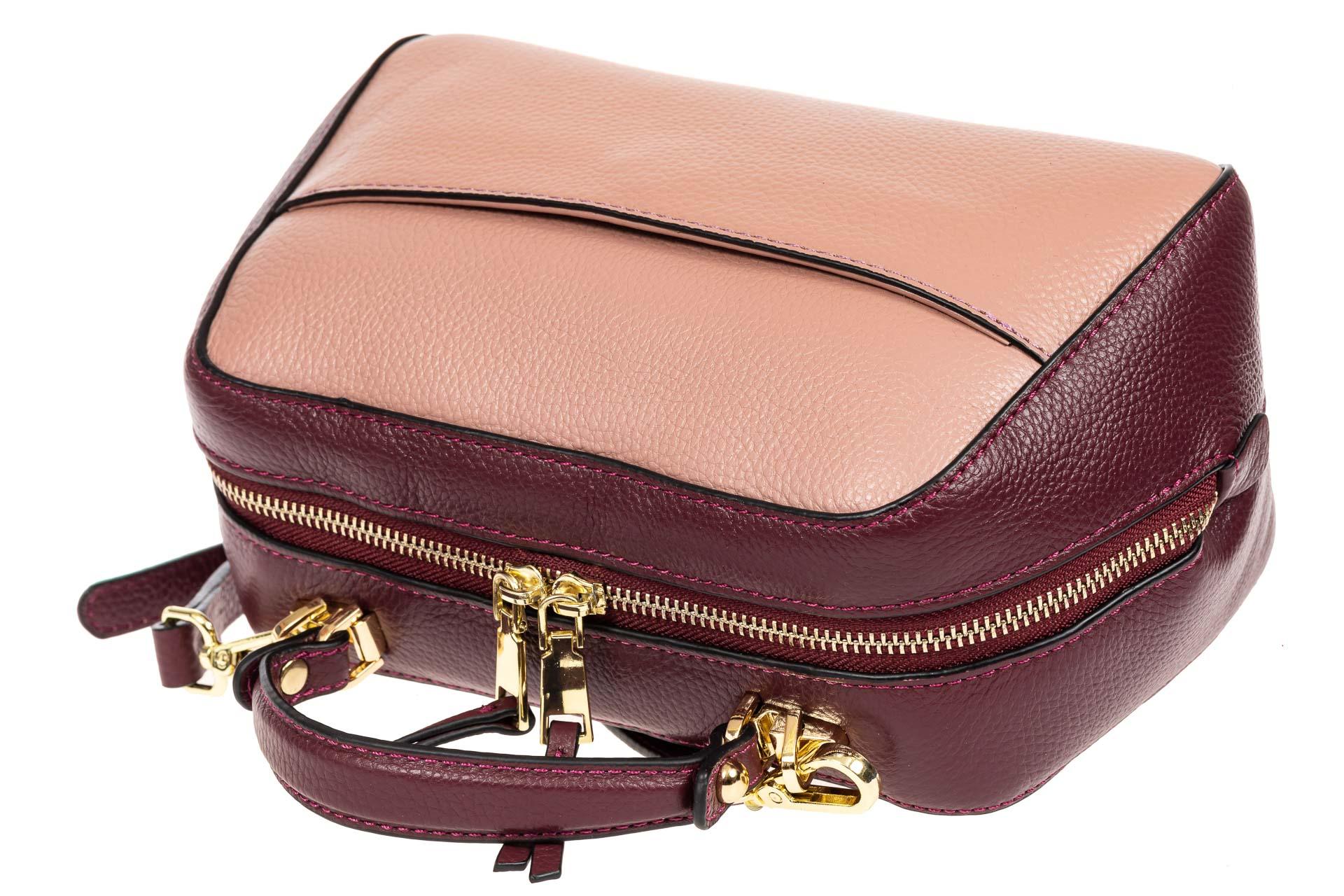 На фото 4 - Мягкая кожаная женская сумка на каждый день, цвет фиолетовый с розовым