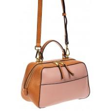 На фото 1 - Мягкая кожаная женская сумка на каждый день, цвет рыжий с розовым