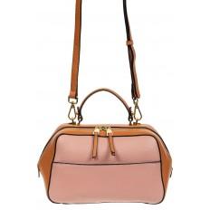 На фото 2 - Мягкая кожаная женская сумка на каждый день, цвет рыжий с розовым