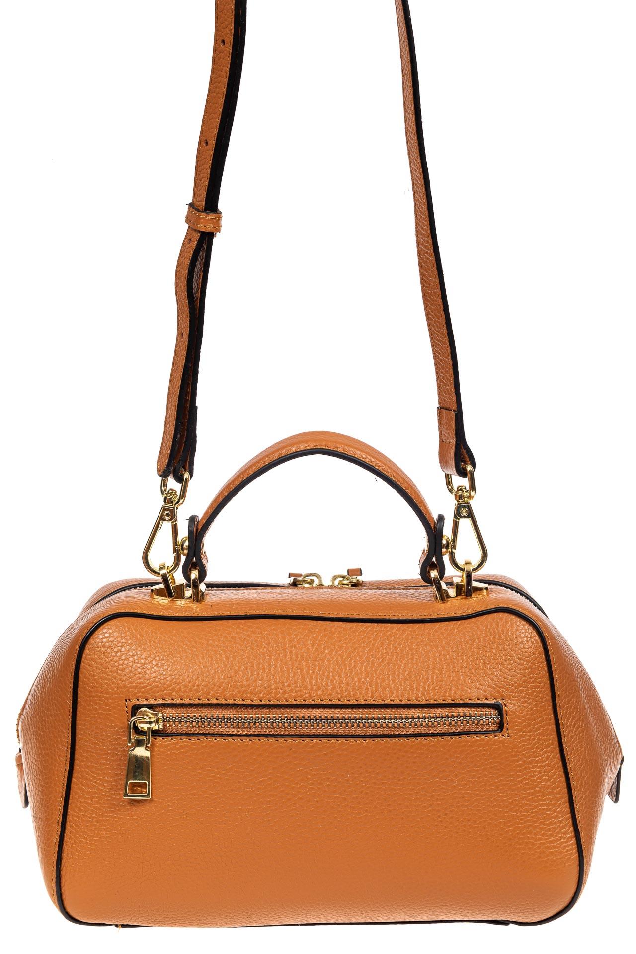 На фото 3 - Мягкая кожаная женская сумка на каждый день, цвет рыжий с розовым