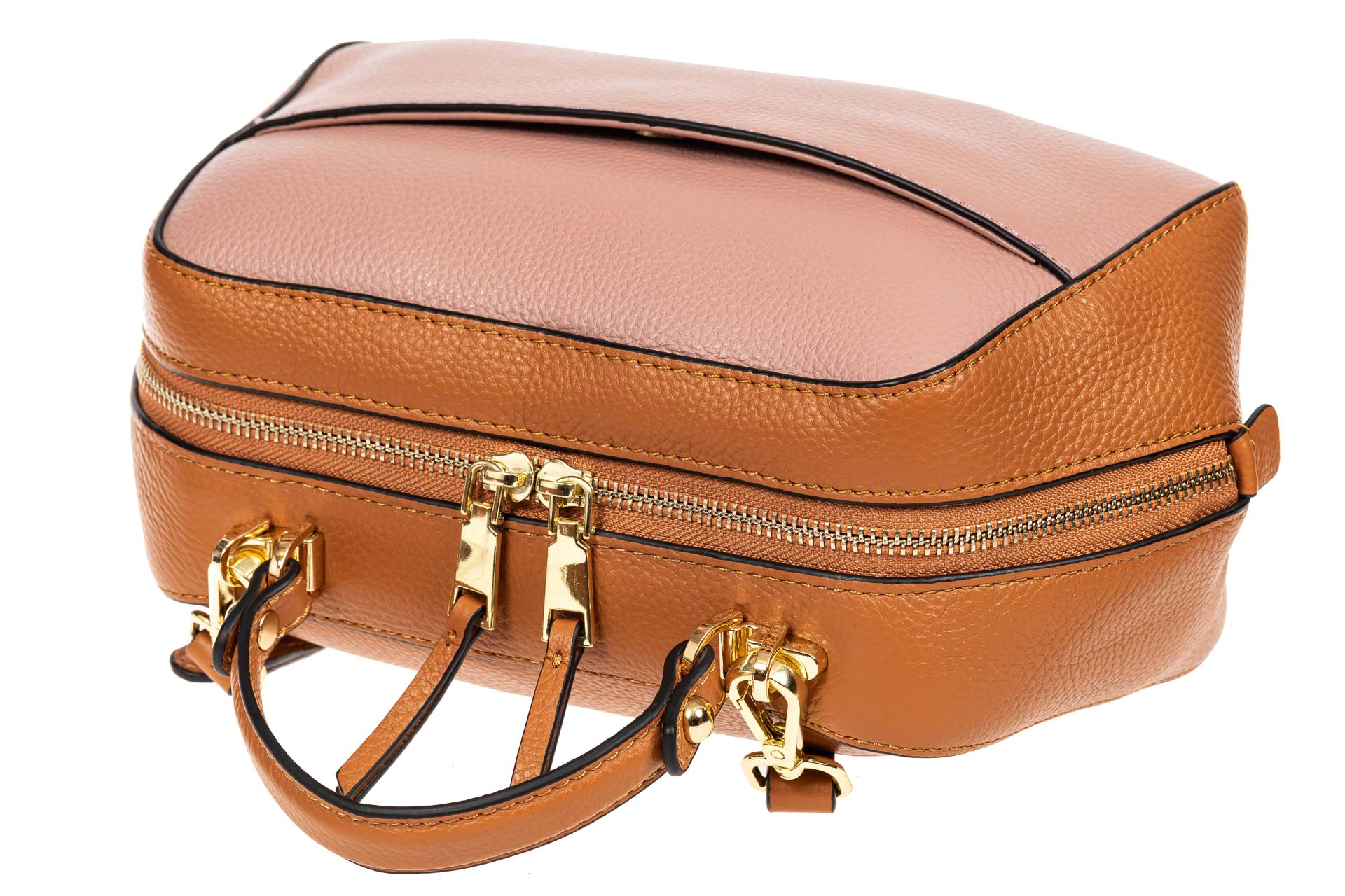 На фото 4 - Мягкая кожаная женская сумка на каждый день, цвет рыжий с розовым