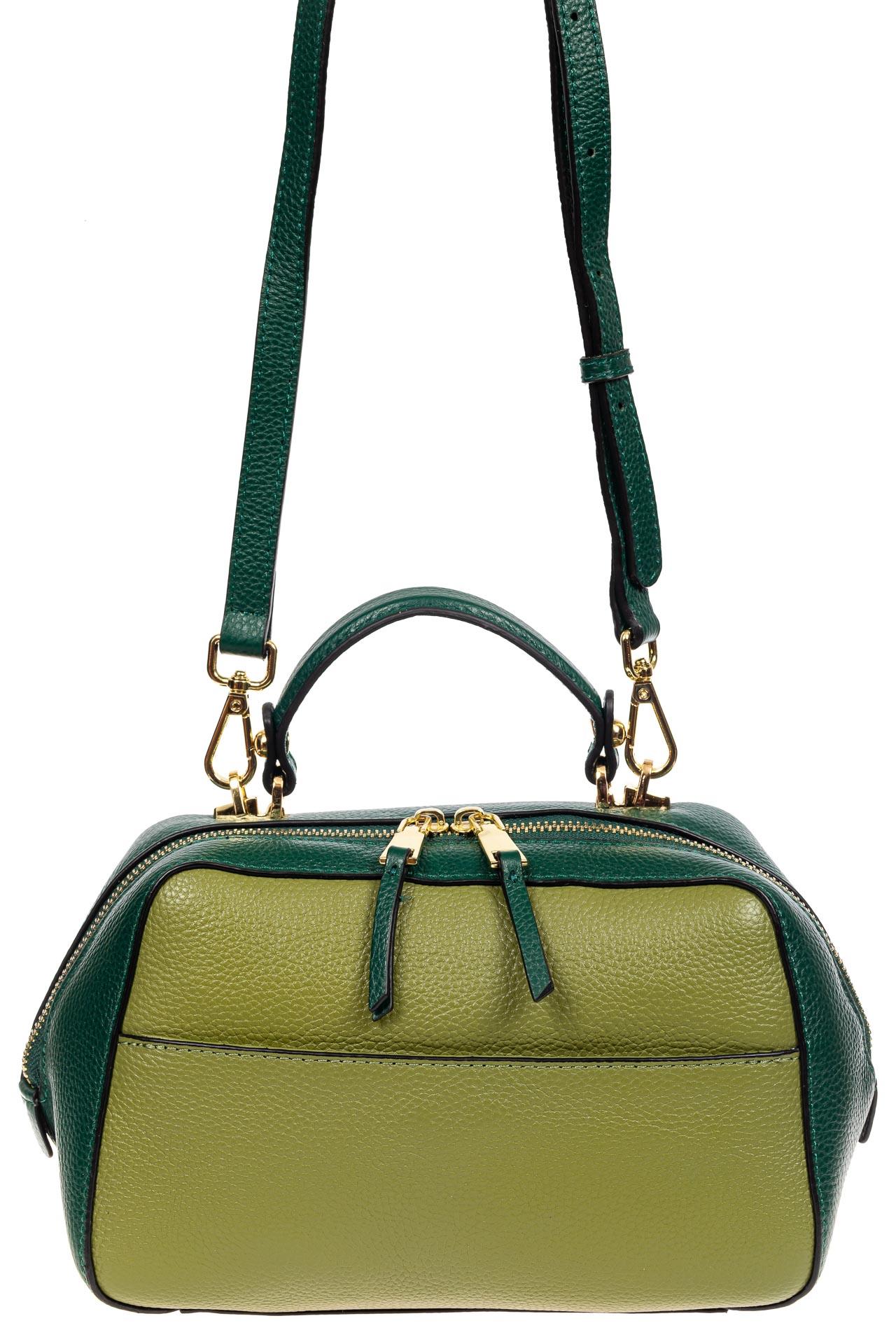 На фото 2 - Мягкая кожаная женская сумка на каждый день, цвет зеленый с оливковым