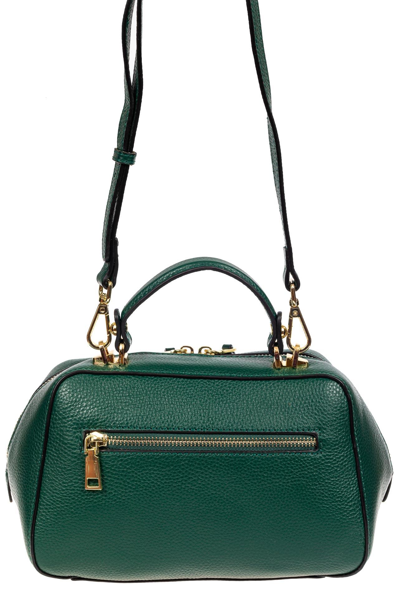 На фото 3 - Мягкая кожаная женская сумка на каждый день, цвет зеленый с оливковым