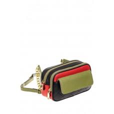 На фото 1 - Женская сумка кросс-боди, черная с зеленым