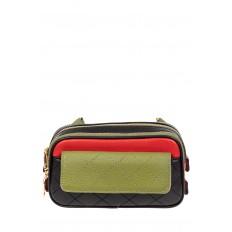 На фото 2 - Женская сумка кросс-боди, черная с зеленым