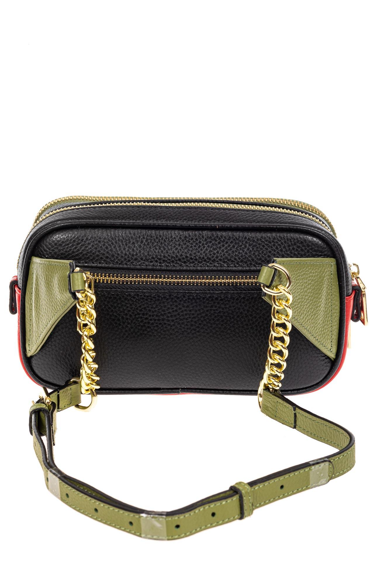 На фото 3 - Женская сумка кросс-боди, черная с зеленым