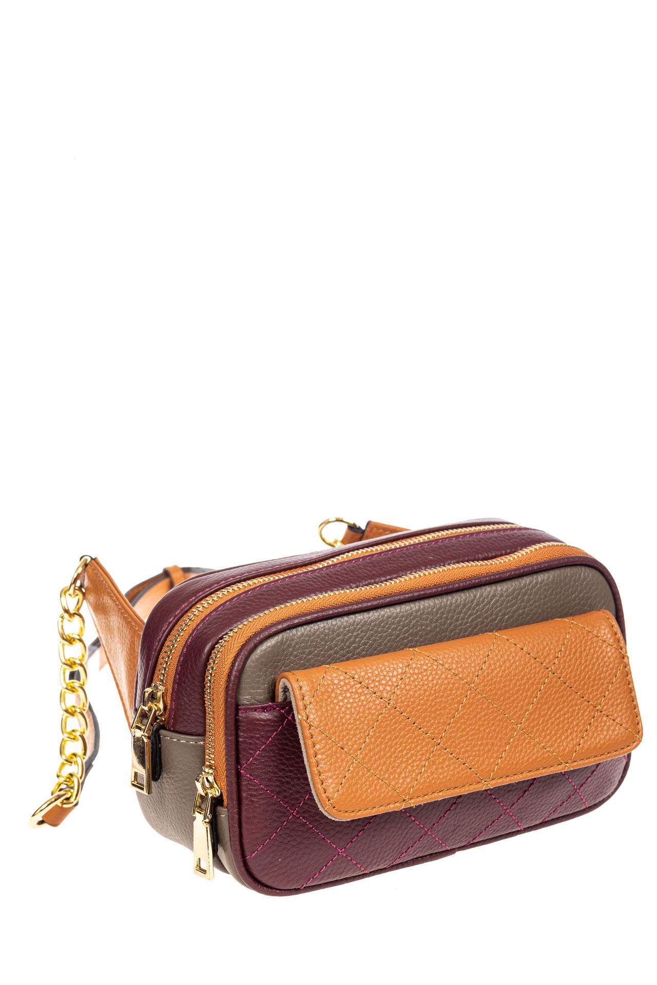 Маленькая кожаная сумка кросс-боди, цвет фиолетовый с рыжимZD8800NK0420/13