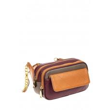 На фото 1 - Женская сумка кросс-боди, фиолетовый с рыжим