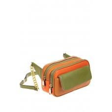 На фото 1 - Женская сумка кросс-боди, оранжевый с зеленым