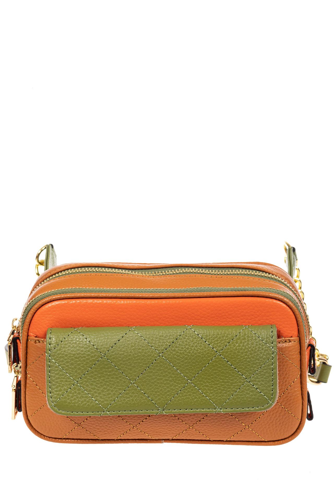 На фото 2 - Женская сумка кросс-боди, оранжевый с зеленым