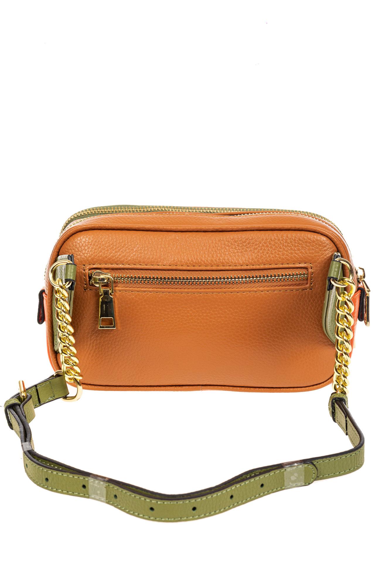 На фото 3 - Женская сумка кросс-боди, оранжевый с зеленым