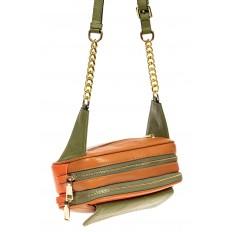 На фото 4 - Женская сумка кросс-боди, оранжевый с зеленым