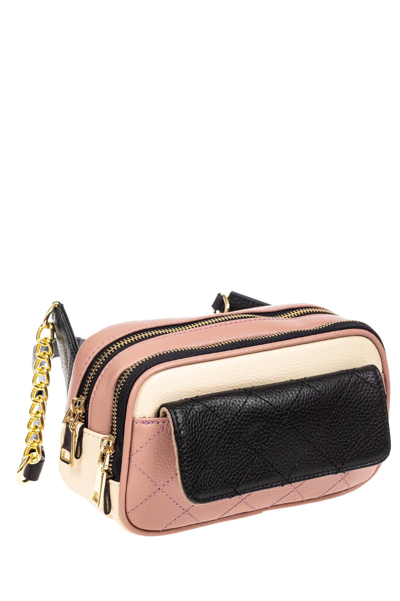 На фото 1 - Женская сумка кросс-боди, розовая с черным