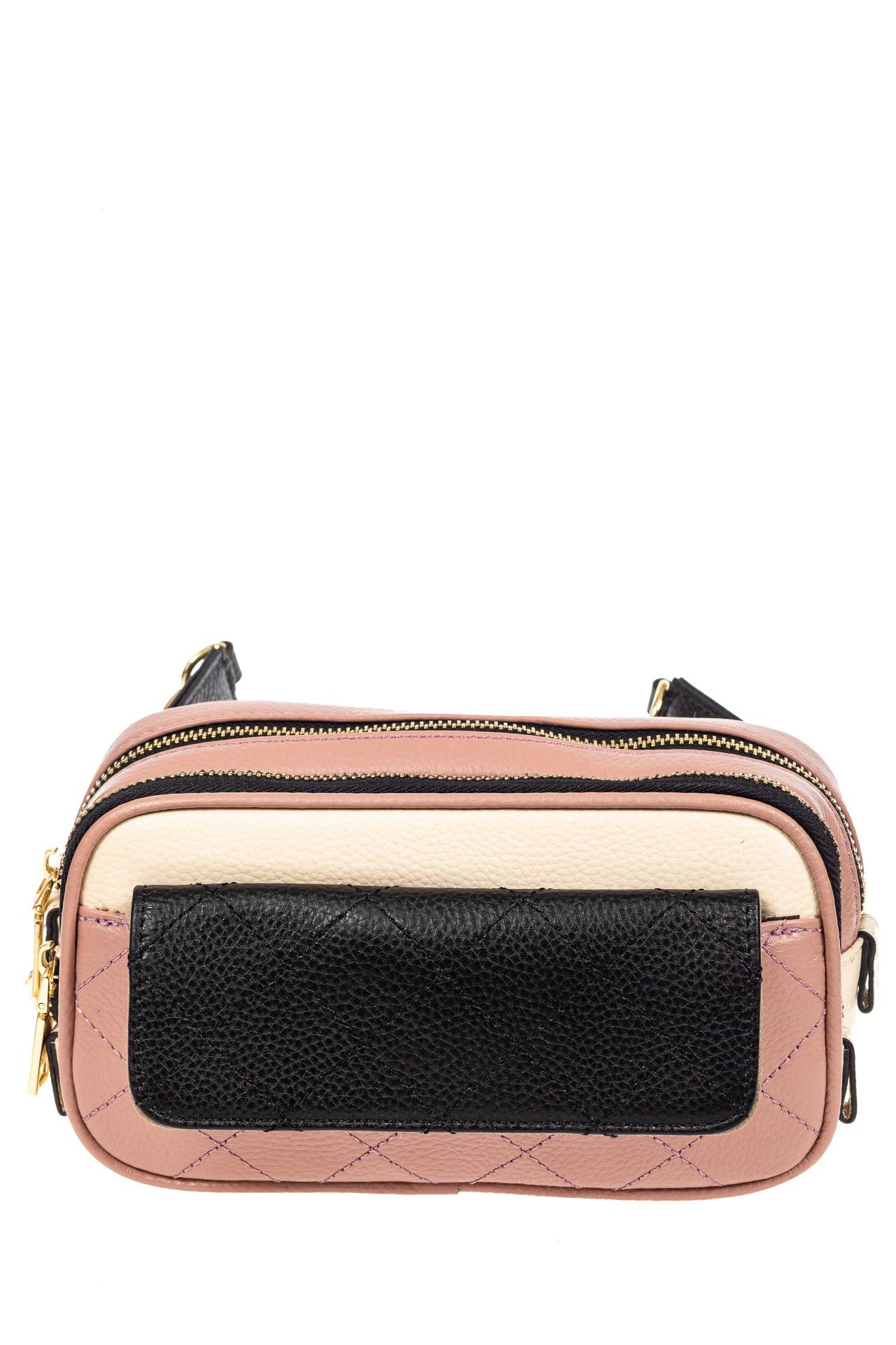 На фото 2 - Женская сумка кросс-боди, розовая с черным