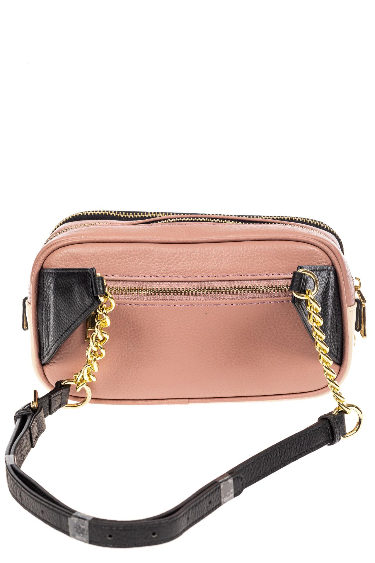 На фото 3 - Женская сумка кросс-боди, розовая с черным