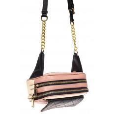 На фото 4 - Женская сумка кросс-боди, розовая с черным