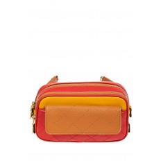 На фото 2 - Сумка кросс-боди, красный с рыжим